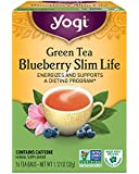 Yogi Tea, Blueberry Slim Life Herbal Supplement Green, 16 Count,(Pack of 6)Packaging May Vary