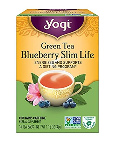 Yogi Tea, Blueberry Slim Life Herbal Supplement Green, 16 Count,(Pack of 6)Packaging May Vary (Special Needs Exercise)