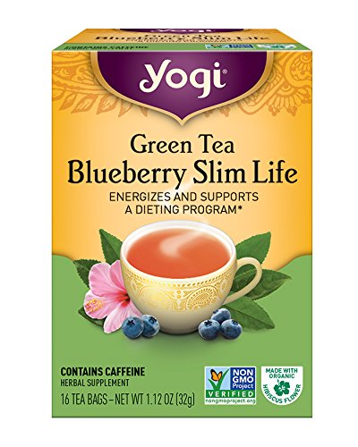 Yogi Green Tea Blueberry Slim Life Herbal Supplement Tea Bags, 16 Ea,...