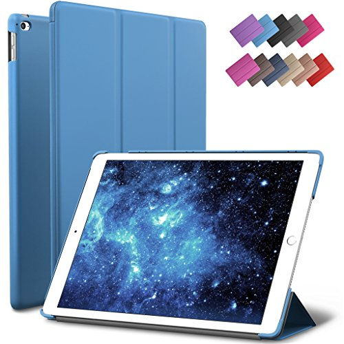 ROARTZ iPad Air 2 Case, Blue Slim Fit Smart Rubber Coated Folio Case Hard Shell Cover Light-Weight Auto Wake/Sleep for Apple iPad Air 2nd Generation A1566/A1567 Retina Display