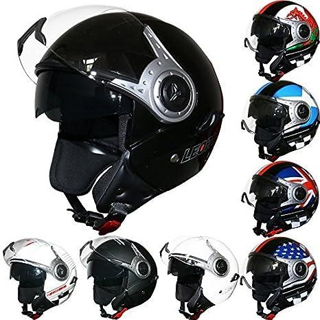 Leopard LEO-612 DOUBLE VISOR Open Face Motorbike Motorcycle Helmet Road Legal - #1 Matt Black M (57-58cm) Touch Global Ltd