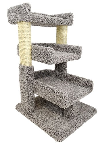 New Cat Condos 110029-Brown-Parent Premier Triple Cat Perch, Gray