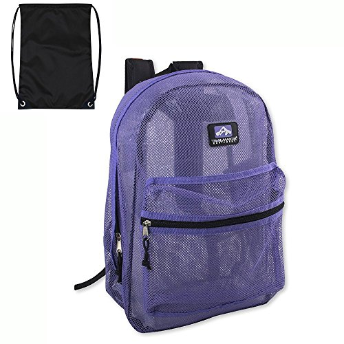Trailmaker Classic Mesh Backpack - (17 Inch) with FREE Drawstring Bag. By Bell Pass Ventures (Lavender)