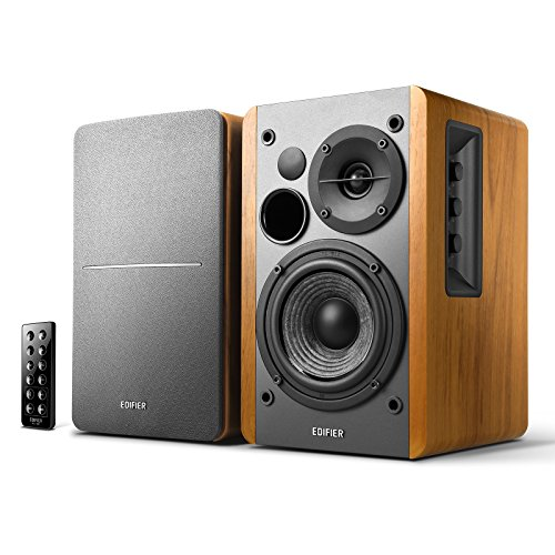 Edifier R1280DB Powered Bluetooth Bookshelf Speakers - Optical Input - Wireless Studio Monitors - 4 Inch Near Field Speaker - 42w RMS - Wood Grain (Bluetooth Speaker Shelf)
