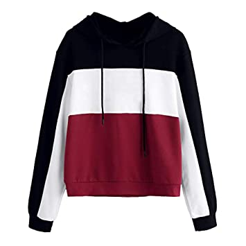Livoty Womens Girls Hoodie Sweatshirt Color Block Hooded Casual Pullover Tops Blouse (S, Red