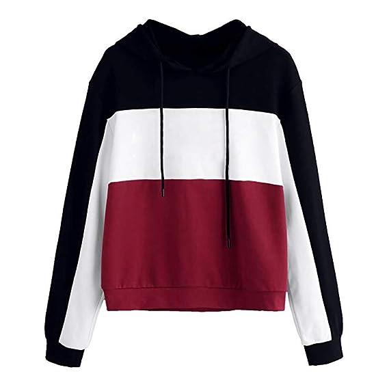 Amazon.com: TOOPOOT Womens Patchwork Drawstring Color Block Hooded Long Sleeve Sweatshirt: Clothing