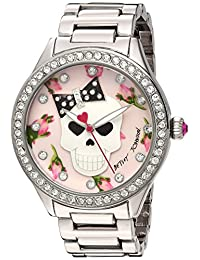 Betsey Johnson Women's BJ00517-49 Skull Floral Printed Dial Watch
