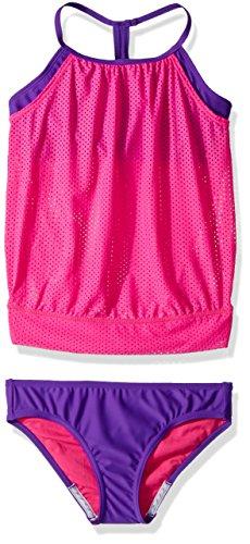 Speedo Girls Mesh Blouson Tankini Two Piece, Pink, Size 8 - Girls Speedo 2 Piece Swimsuit