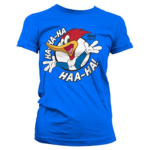 Officially Licensed Woody Woodpecker HAHAHA Women T-Shirt (Blue), Small