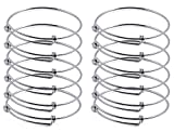ZX Jewelry 12pcs Women's Expandable Blank Bangle Adjustable Wire Bracelet for Jewelry Making 2.4inch