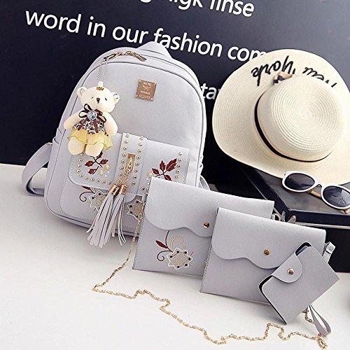 borsa tracolla catena B di moda nappa rivetto Borsa bambino doppia Aoligei zaino donna studente txfqvU8