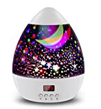 Star Sky Night Lamp,ANTEQI Baby Lights 360 Degree Romantic Room Rotating Cosmos Star Projector with LED Timer Auto-Shut Off for Kid Bedroom,Christmas Gift (White)