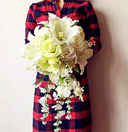 Amazoncom Jiumengya One Waterfall Bride Bouquet Artificial Rose