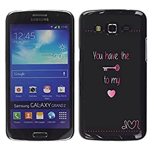 LECELL--Funda protectora / Cubierta / Piel For Samsung Galaxy Grand 2 SM-G7102 SM-G7105 -- Have Key My Heart Lock Text Valentines --