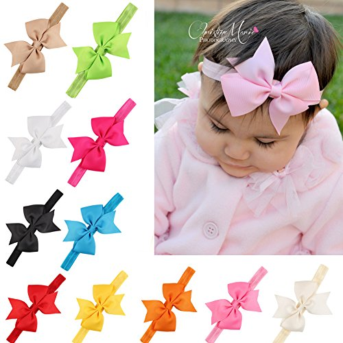 20Pcs Baby Girl Headbands with Bow Cute Elastic Hair Wrap for Newborn Infant Toddler (Newborn Infant Toddler)