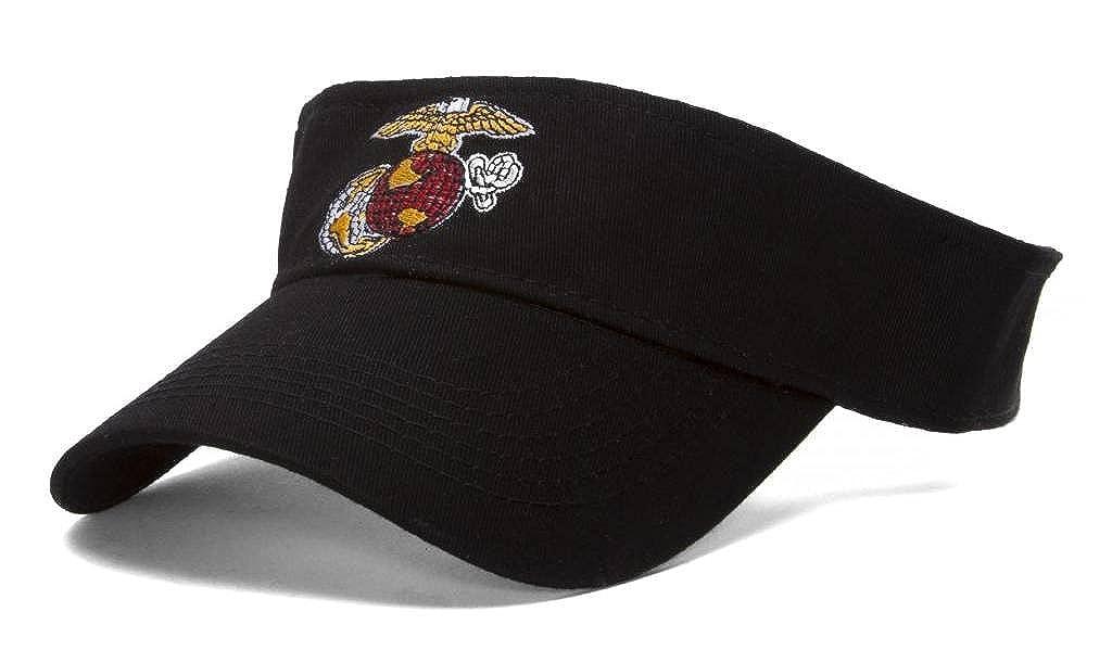 USMC Emblem Black Adjustable Visor
