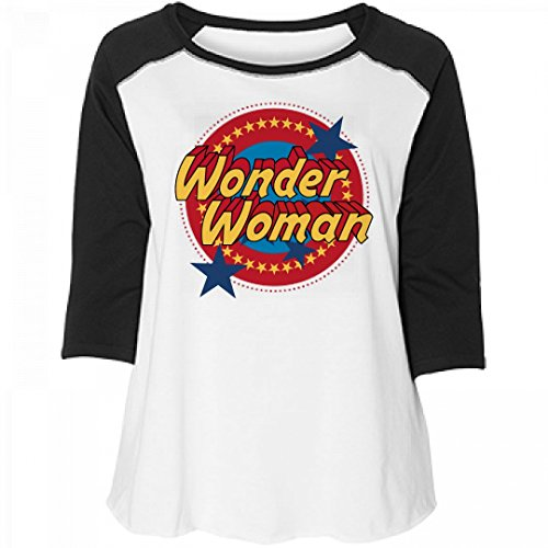 Superhero T Shirts Plus Size (Wonder Woman Vintage Plus Raglan: Women's Curvy Plus Size Raglan Baseball Tee)