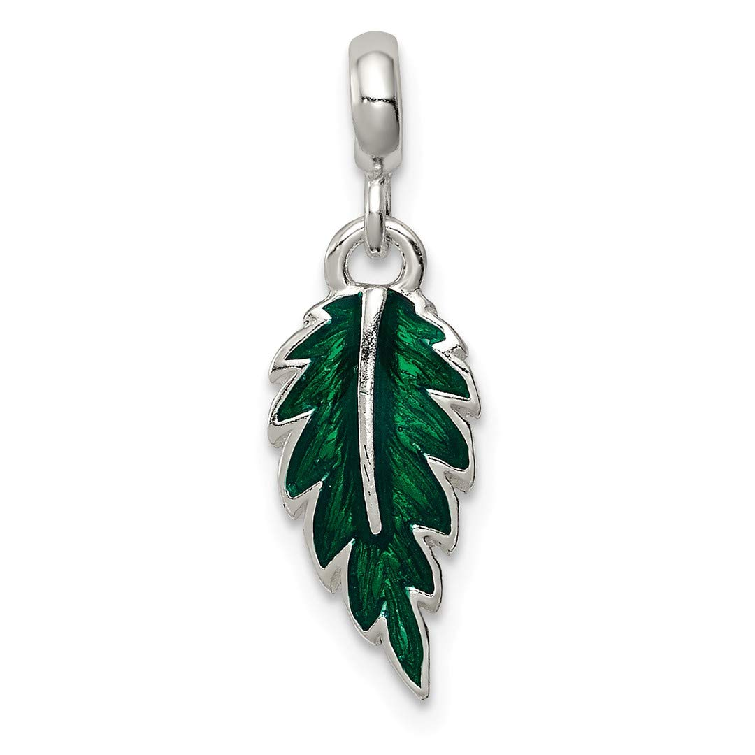 ICE CARATS 925 Sterling Silver Green Enameled Leaf Enhancer Necklace Pendant Charm Outdoor Nature Fine Jewelry Ideal Gifts For Women Gift Set From Heart