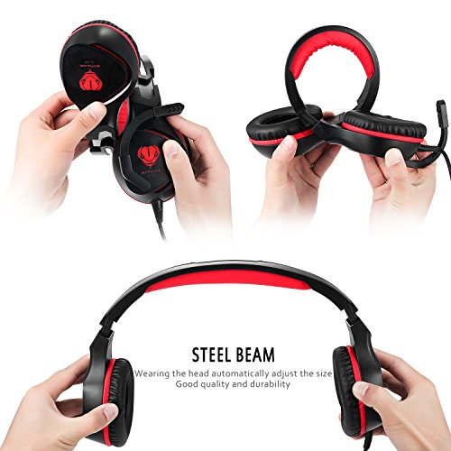 PC Gaming Headset with Mic, VPRAWLS 3.5mm Wired Over-Ear Bass Surround Stereo Headphone with Noise Cancelling, Leather Earmuff, Volume Control for PS4 New Xbox One Mac Laptop Computer Games by VPRAWLS (Image #2)
