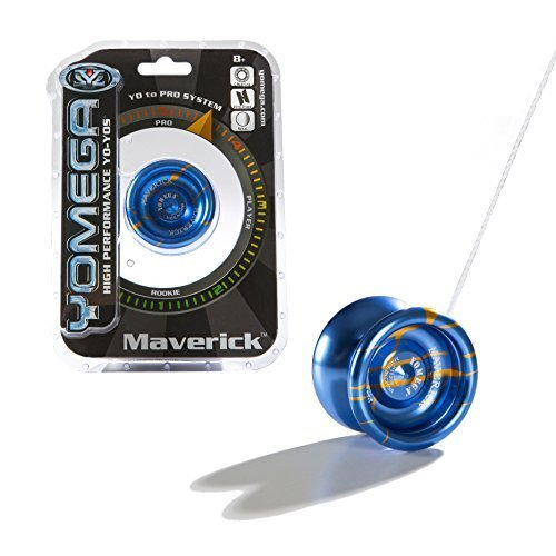 Yomega Maverick - High Performance, High-Grade Pro Level Wing Shaped Yo-Yo - All Aluminum Laser Etched Frame - Blue and Orange Stripe by Yomega