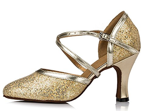 Shoes Modern Dance Closed Women's Salsa Wedding Latin Comfort 8cm Style2 a Pumps Ballroom Toe Synthetic Strap Social Joymod Heel Gold Glitter Cross MGM Party O4qwZ64