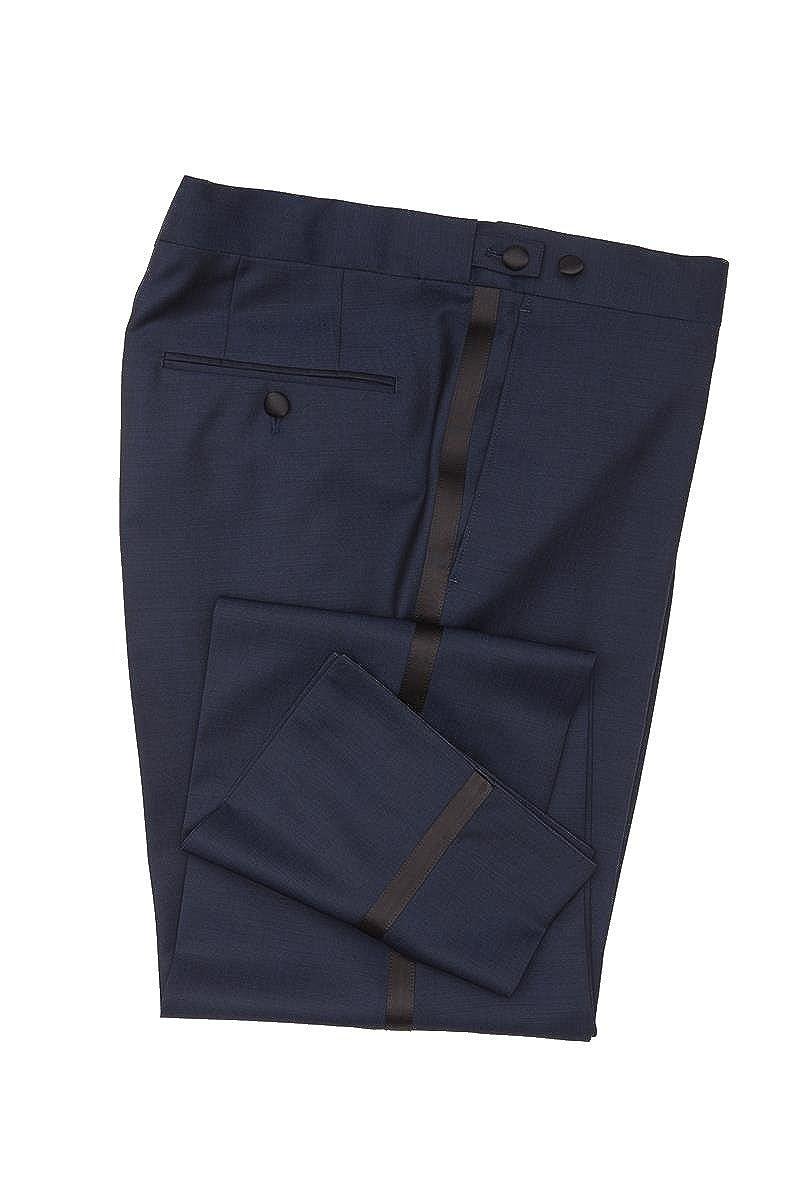 Masterhand Classics Smokinghose Mitternachtsblau Tailored Fit taillierter Schnitt Schurwolle und Mohairwolle Hose Tam 90080955004005/38/