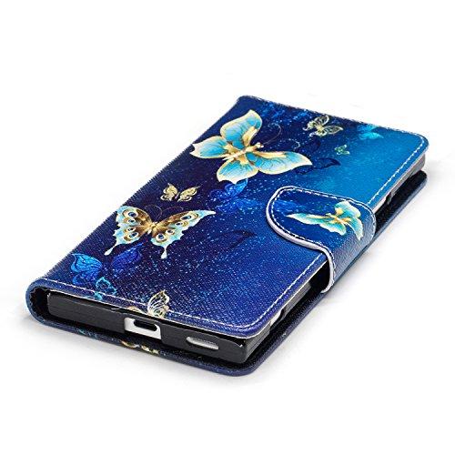 Para Sony Xperia XA1 funda, (Mariposa de melocotón) caja del teléfono de la PU patrón en pintado ,Función de Soporte Billetera con Tapa para Tarjetas soporte para teléfono Un grupo de mariposas están bailando