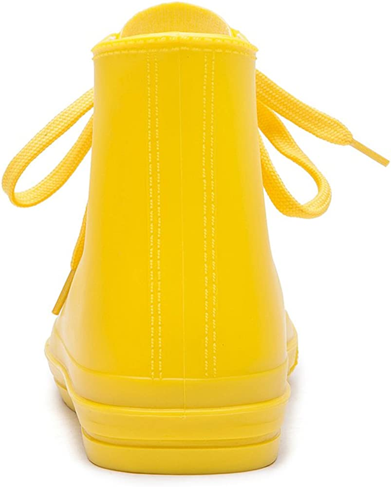 DKSUKO Women Wellington Shoes Waterproof Rain Boots with Lace up for Girls
