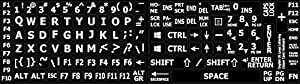 ENGLISH US LARGE LETTERS KEYBOARD STICKERS NON TRANSPARENT BLACK BACKGROUND (Upper Case) by 4Keyboard