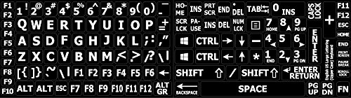 Russian-English Black Backgroubd Keyboard Stickers Non Trans