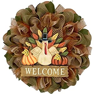 Thanksgiving Wood Turkey Welcome Wreath Burlap and Deco Mesh 116