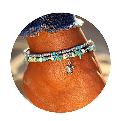 17KM Starfish Turtle Anklets Multi Layered Turquoise Stone Shell Boho Beach Sliver Yogo Charm Anklet for Women