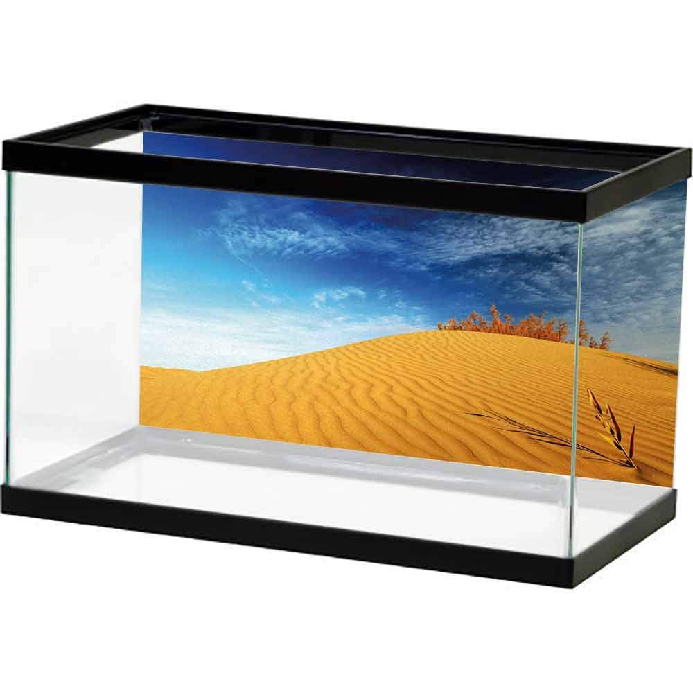 bybyhome Sticker Undersea Landscape,Hot Desert with Sand Dunes and Dry Plants with Blue Sky Nature Art Print,Blue and Apricot Underwater Backdrop by bybyhome