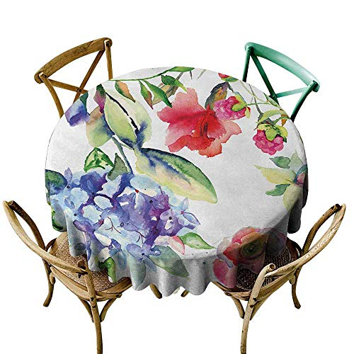 (Zmlove Art Wrinkle Resistant Tablecloth Summer Flowers Branch Bloom Beauty of Flourishing Season Nature Botany Watercolor Print and Durable Multicolor (Round - 39