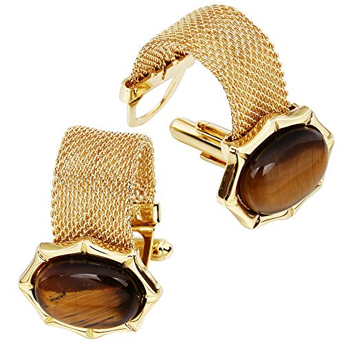 HAWSON Mens Cufflinks with Chain - Stone and Shiny Gold Tone Shirt Accessories - Party Gifts for Young Men (Tiger - Eye Stone Tigers Cufflinks