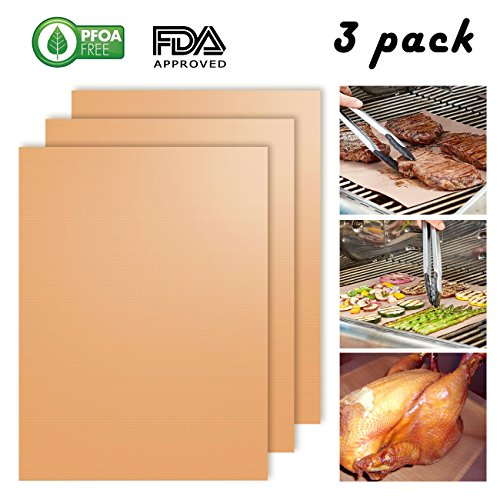 Copper Grill Mat Set of 3, Babyltrl Non-Stick BBQ Grill & Baking Mats, FDA Approved, PFOA Free, Reusable BBQ Accessories for Gas,Charcoal,Electric (Grate Garlic Slide)