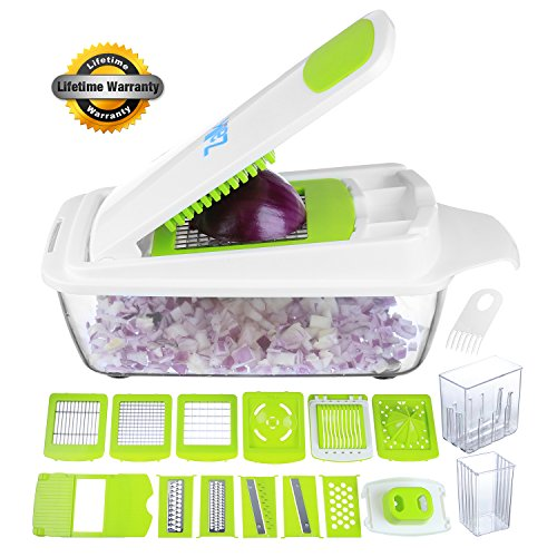 Zalik Vegetable Chopper Slicer Dicer Cutter & Grater - 11 Interchangeable Stainless Steel Blades - Heavy Duty Multi Fruit Cheese & Onion Chopper Dicer Kitchen Cutter