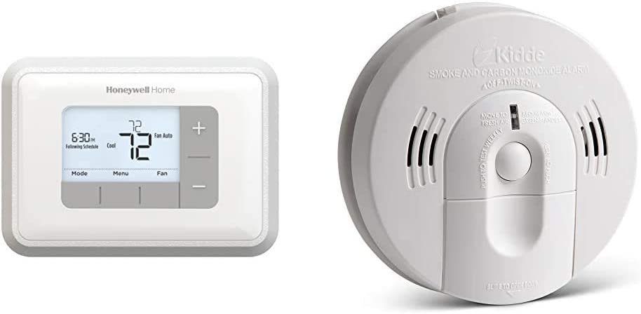 Honeywell Home Programmable Thermostat & Kidde 21026043 Battery-Operated(Not Hardwired) Combination Smoke/Carbon Monoxide Alarm with Voice Warning KN-COSM-BA