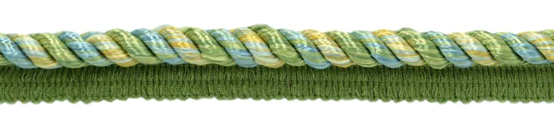 24 Yard Package|Multi Colored 3/8 inch Ocean Blue, Spring Green, Pale Yellow, Alpine Green, Gulf Cord with Sewing Lip|Style# 0038MLT|Color: Summer Daze - PR17 (72 Feet / 21.9 Meters) by DÉCOPRO