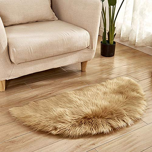 (Clearance  Tuscom Super Soft Faux Fur Sheepskin Area Rug,Non Slip Bedroom Shaggy White Love Semicircle Carpet Mat,for Bedroom Bedside Rugs Floor 45 x 90 cm)