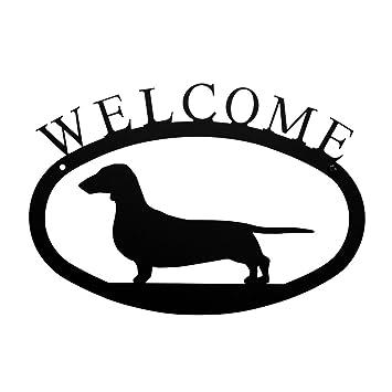 Amazon Iron Dachshund Dog Home Address Welcome Sign Small