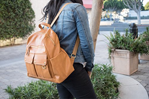 NEW!!! Ella Dane Faux Leather Diaper Backpack/ Brown Diaper Bag/ With Padded Changing Mat and Insulated Bottle Holder / Large for multiple kids/ For mom and dad/Adjustable Straps wearable on stroller by Ella Dane