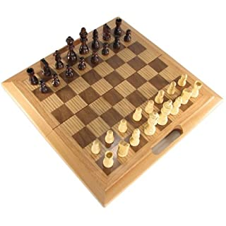 "16"" Wooden 3 in 1 Game Set with Chess/Checkers, & Backgammon"