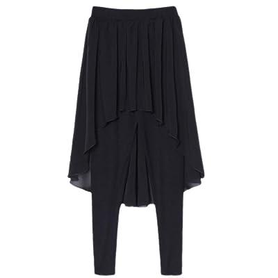 ACVIP Femme Joli Elégant Legging Jupe Ensemble Pantalon Collant Elastique Noir Automne Hiver, Taille Unique