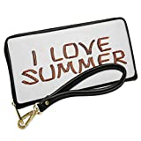 Wallet Clutch I Love Summer Grilled BBQ Meat Sausage with Removable Wristlet Strap Neonblond