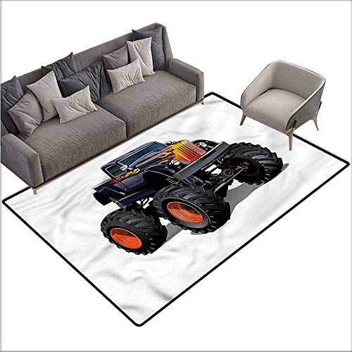 Polyester Non-Slip Doormat Rugs Colorful Truck,Flame Pattern Pickup 80