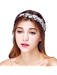 YAZILIND Headdress Beauty Bridal Headband Red Flower Beads Rhinestones Wedding Hair Accessories Party Women