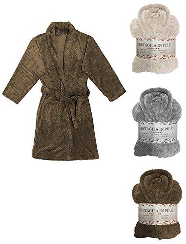 Colore Notte Donna con Tortora Caldo per Cintura e Taglia Tasche in Grigio Morbido da e Vestaglia Pile Laterali S aSR5qwzx