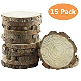 "Yexpress 15pcs 3.5""-4"" Inch Unfinished Natural Thick Wood Slices Circles with Tree Bark Log Discs for DIY Craft Christmas Rustic Wedding Ornaments"