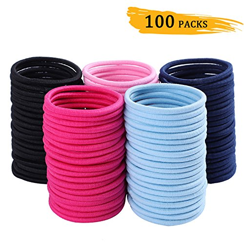 100 Pieces 4mm Hair Bands Whaline Hair Tie Bulk Ponytail Hol